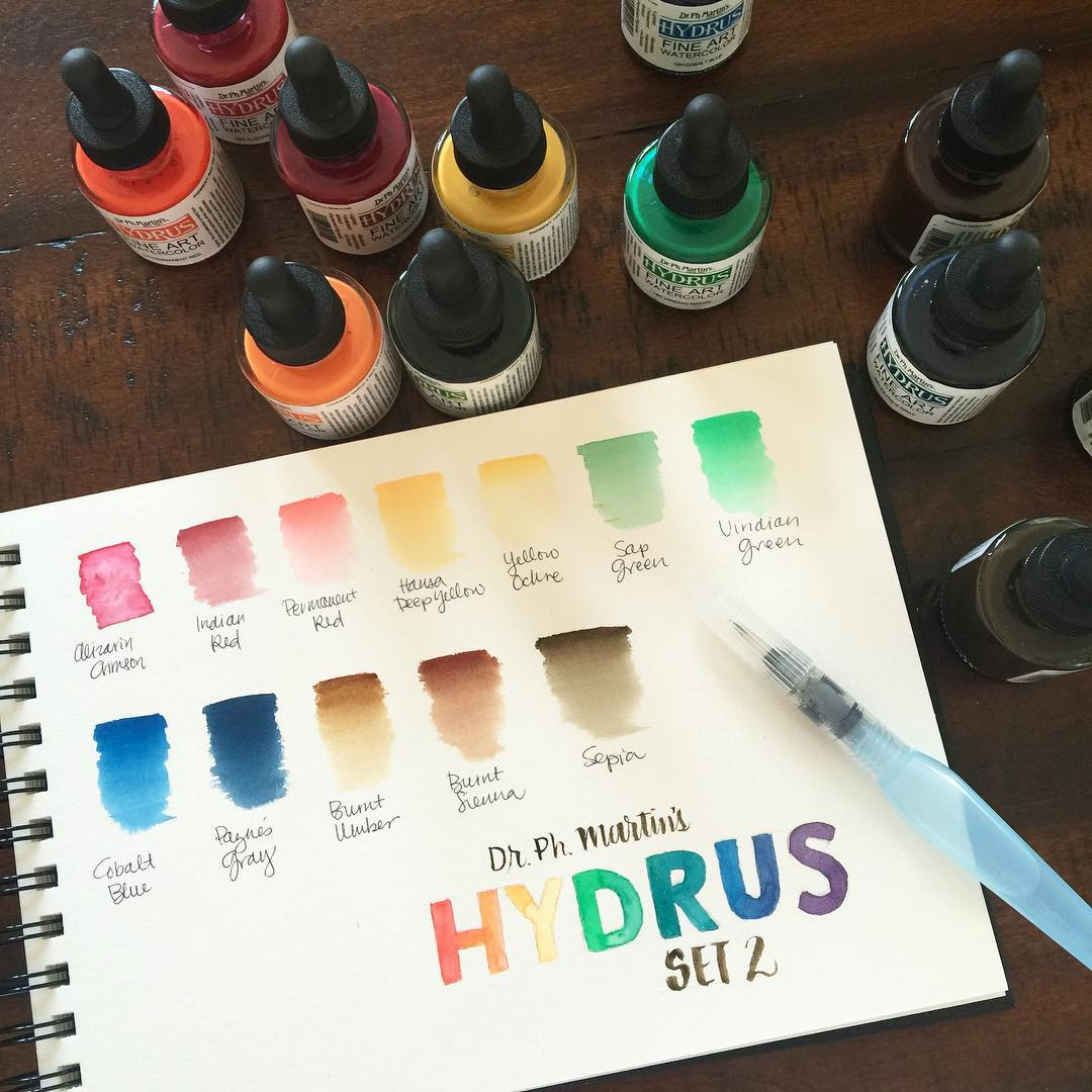 More watercolor swatching and testing Loving the Dr Ph Martinshellip