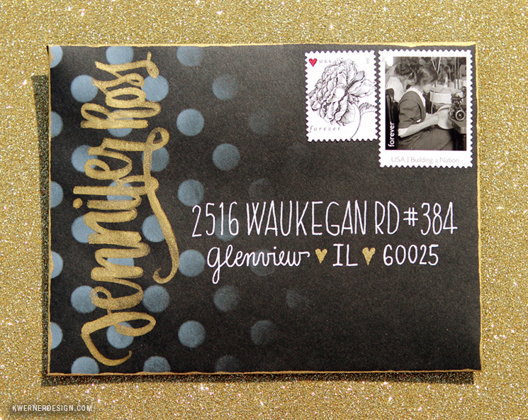 Dots & Gold Brush Lettering Envelope - Mail Art