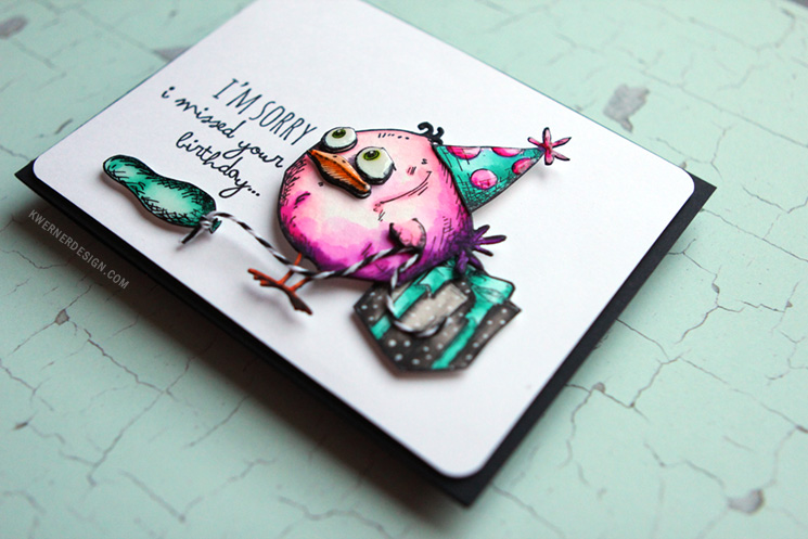 Watercoloring with Zig Clean Color Real Brush Markers & Bird Crazy Stamps