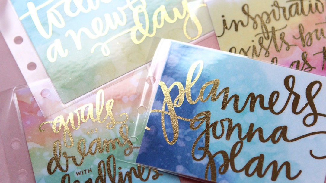 diy foil cards for planners  free download