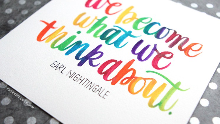 rainbow watercolor brush lettering in real time kwernerdesign blog