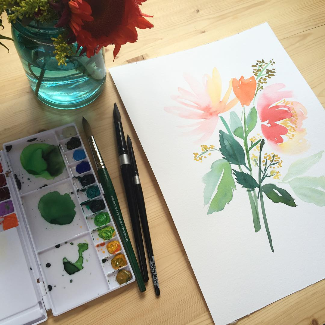 Floral watercolor study Did this last night while following alonghellip