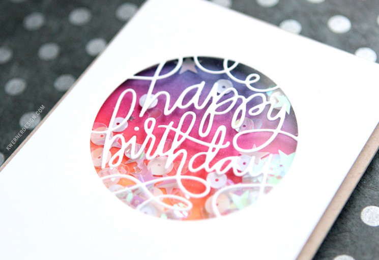 Ink Blended Birthday Shaker Card