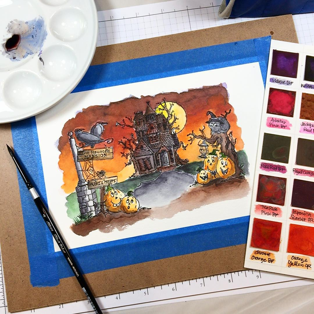 Painting the Haunted House stamps from artimpressions Its meant tohellip