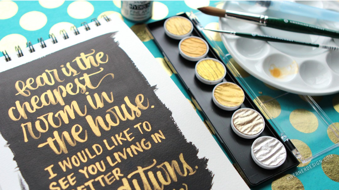 Brush Lettering with Gold FineTec
