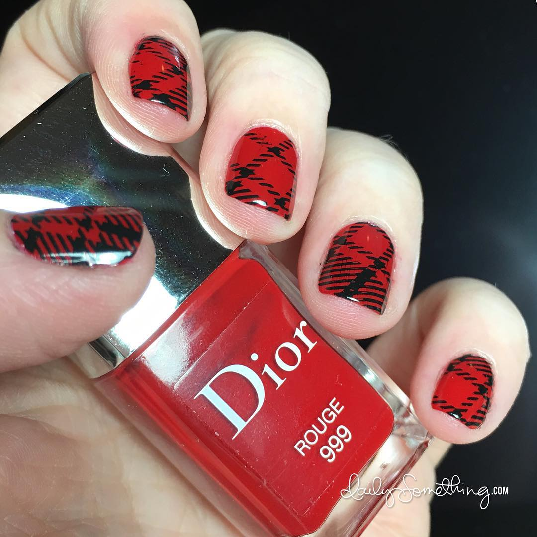 Red amp Black Plaid Stamping Manicure Showed how to dohellip
