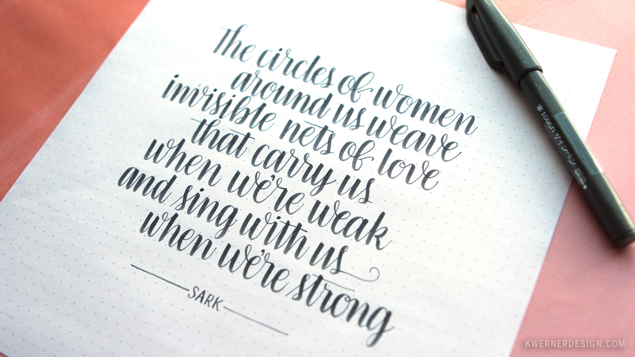 brush lettering with pentel fude touch sign pen kwernerdesign blog