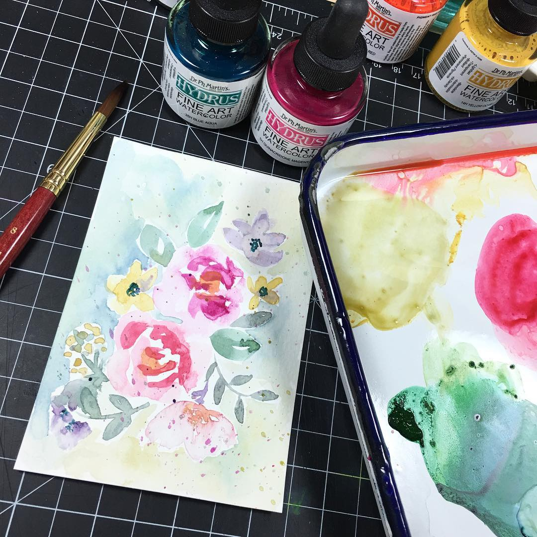 Playing with liquid watercolors this afternoon Fixating on florals afterhellip