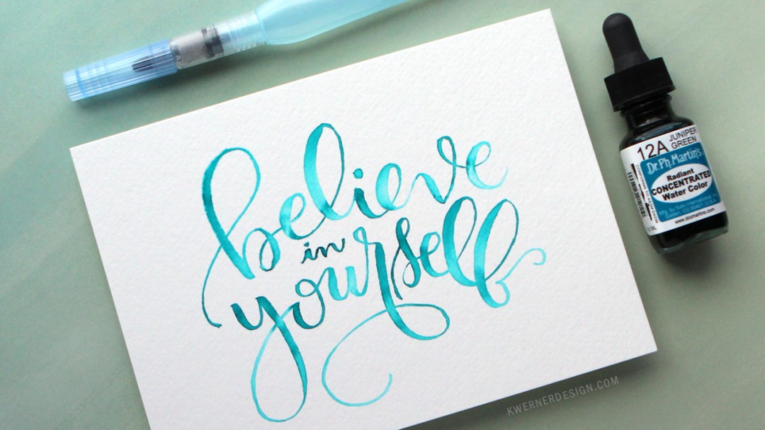 Watercolor Brush Lettering Using Light Pad