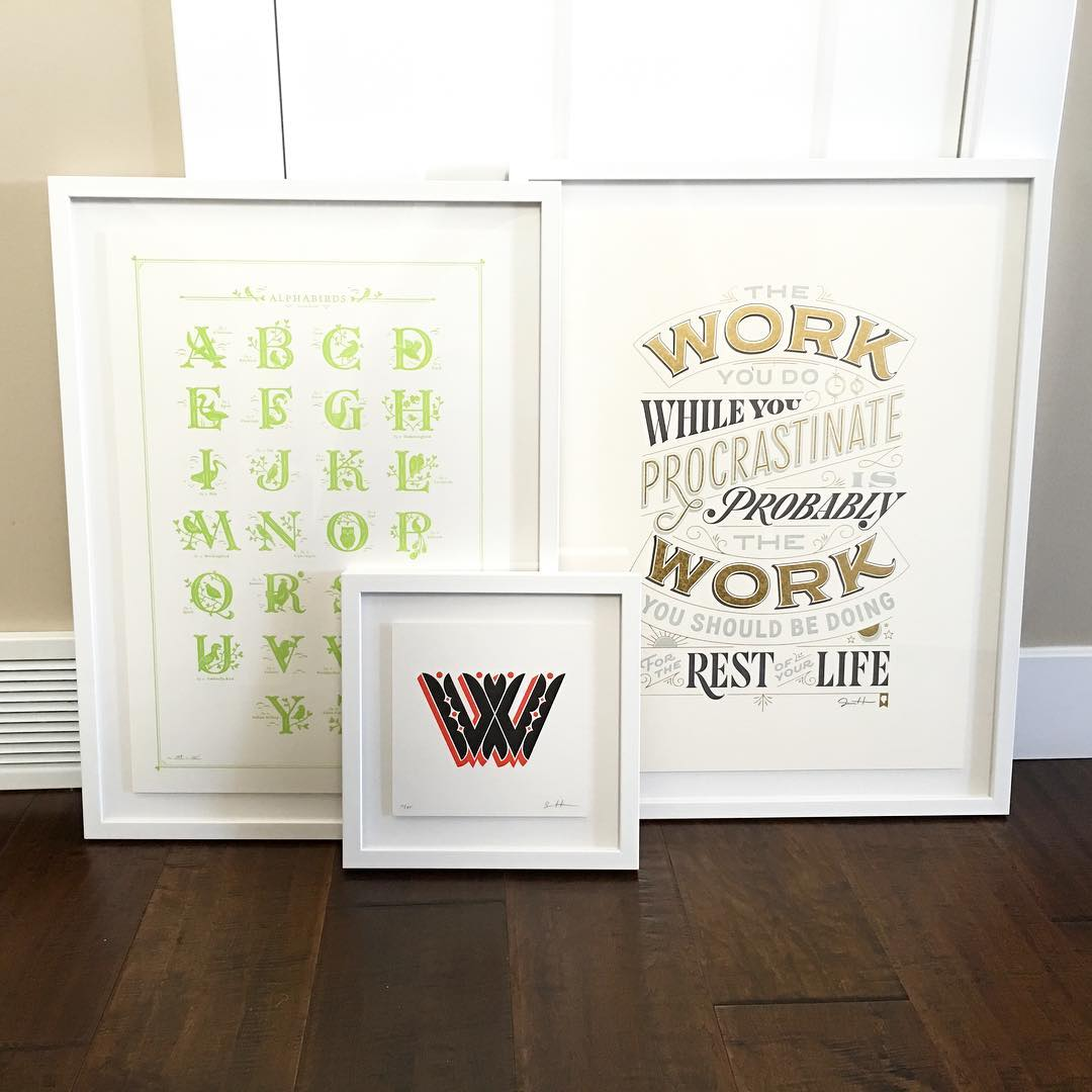 These three framed letterpress prints arrived today All of themhellip
