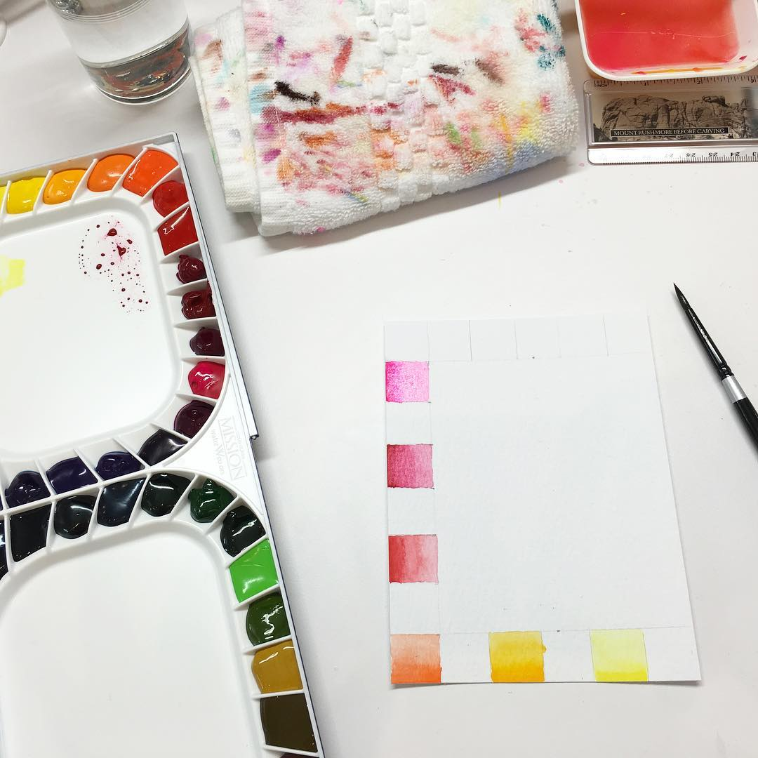 Swatching watercolors is so relaxing kathyracs new Mijello Mission Goldhellip