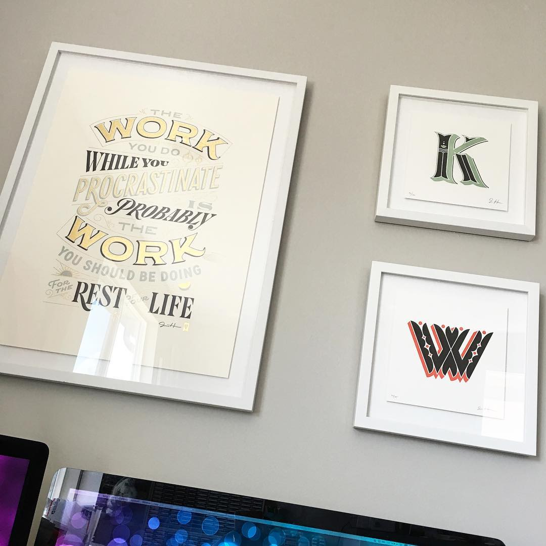 My two nieces helped me hang these framed letterpress printshellip
