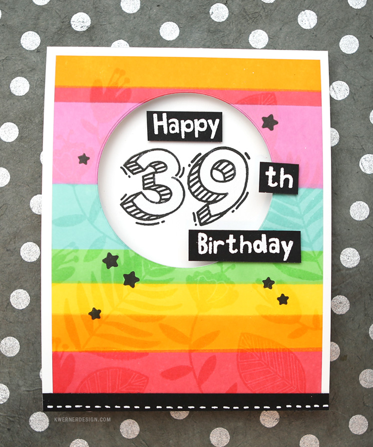 Colorful Striped Birthday Card with New Waffle Flower Inks