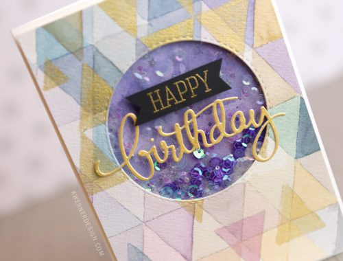 DIY Watercolor Background Shaker Card (FineTec Gold Watercolors)