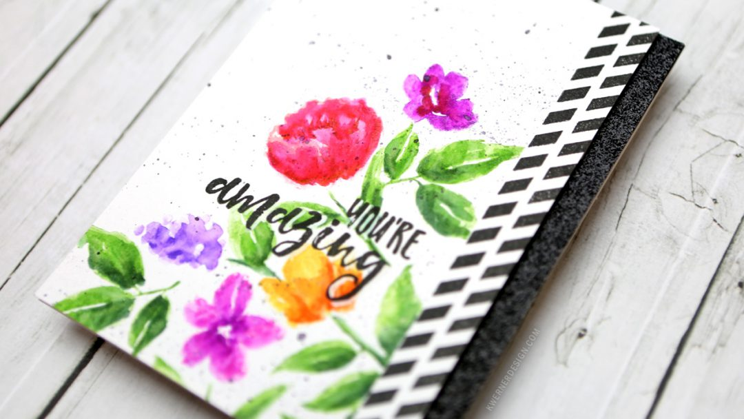 Stamped Watercolor Flowers (Zig Clean Color Real Brush Markers Series #2)