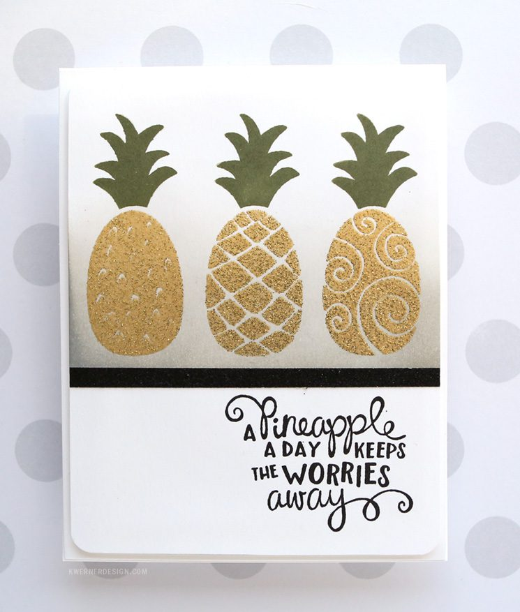 Simple Glitter Embossing Powder Card with Newton's Nook Pineapple Delight