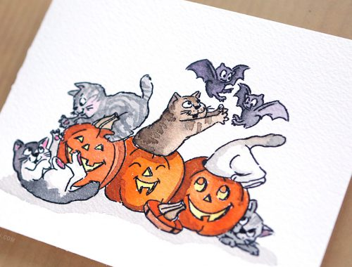 Art Impressions Meow-lloween + Mail Call August 2016 (Cards with Flowers)