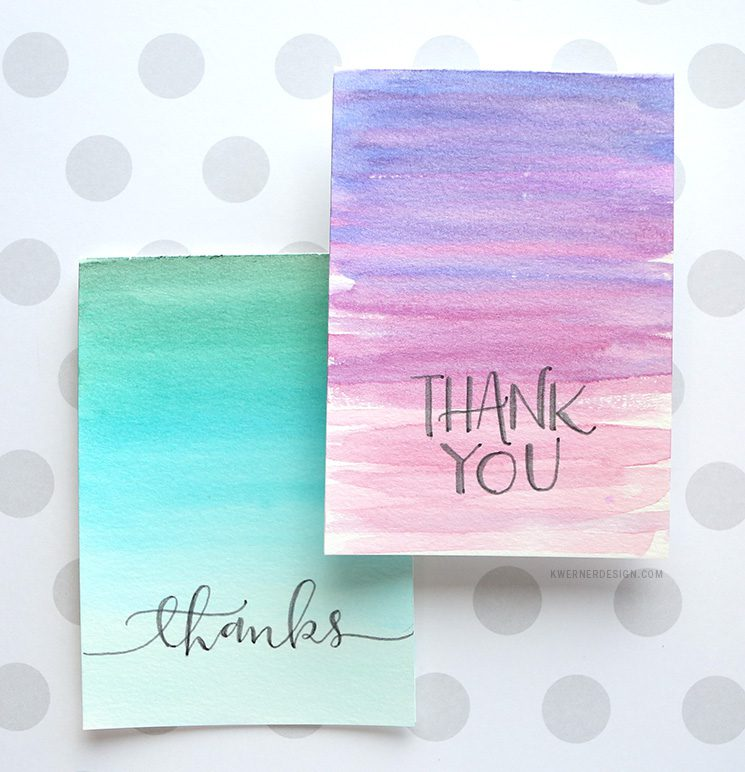 Easy Diy Thank You Cards Ombr Watercolor