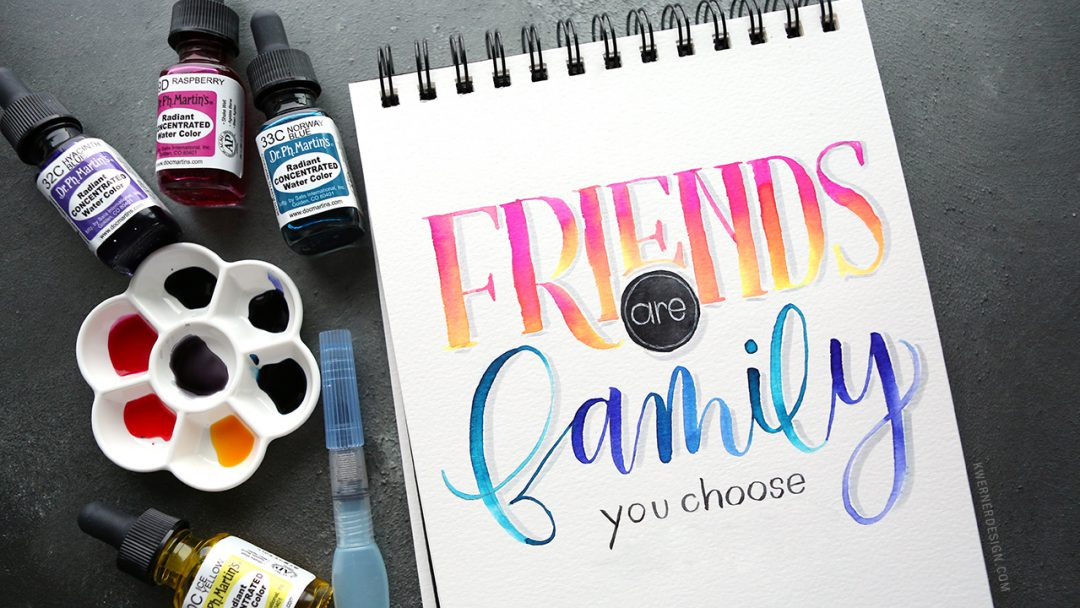 brush lettering custom quote liquid watercolor