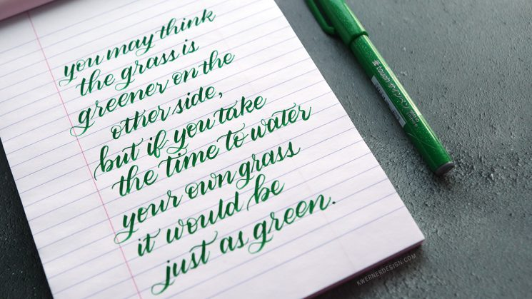 Brush calligraphy with pentel fude touch sign pen