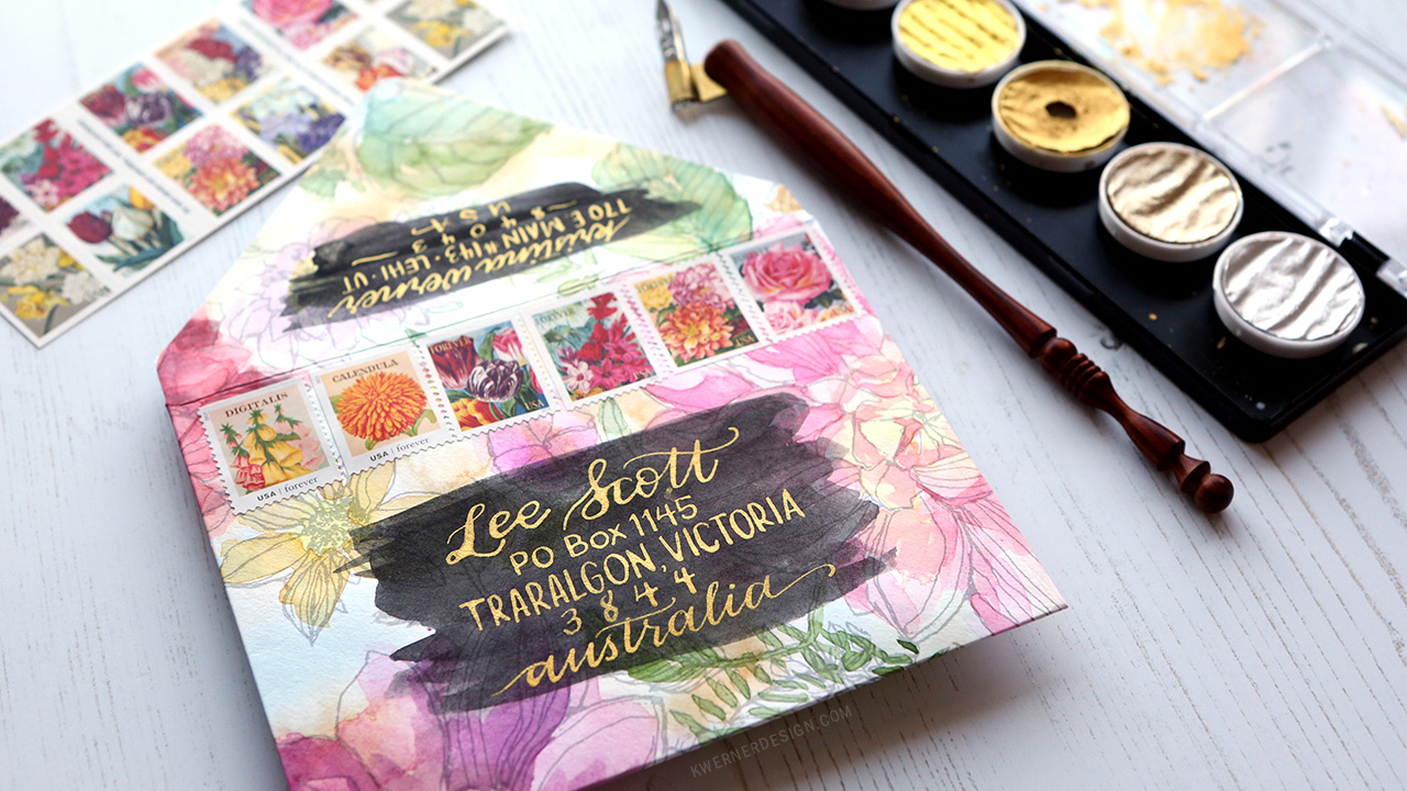 Watercolor paper coloring book - Diy Envelope Made With A Coloring Book Page Giveaway Kwernerdesign Blog