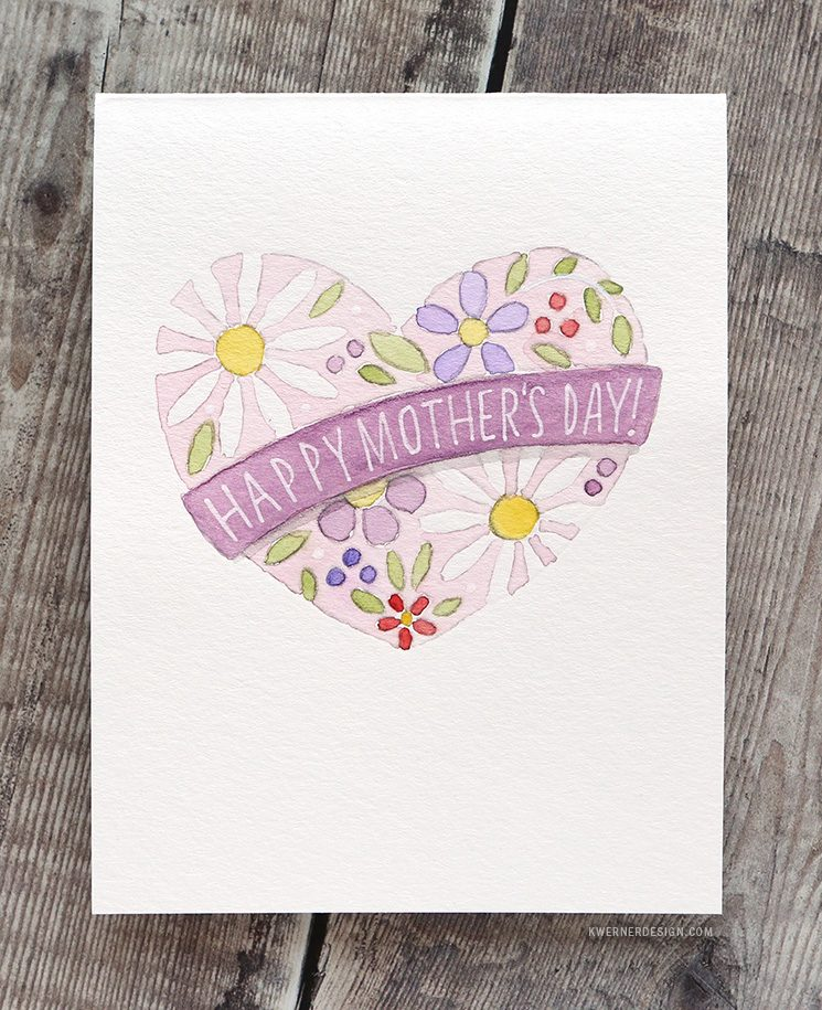 EASY DIY Watercolor Card – Mother's Day – Minimal Supplies Needed!