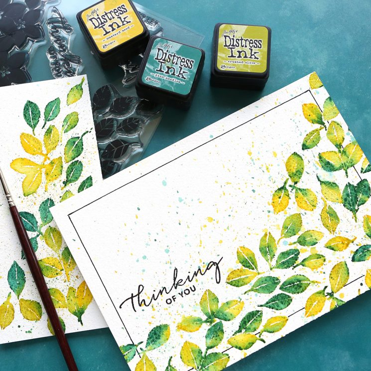 Stamped Distress Ink Watercolor