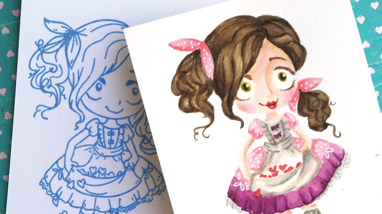 No-Line Coloring Dollie with Hearts from The Greeting Farm