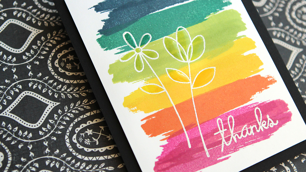 Rainbow Strokes With Flowers – Make a Card Monday #276