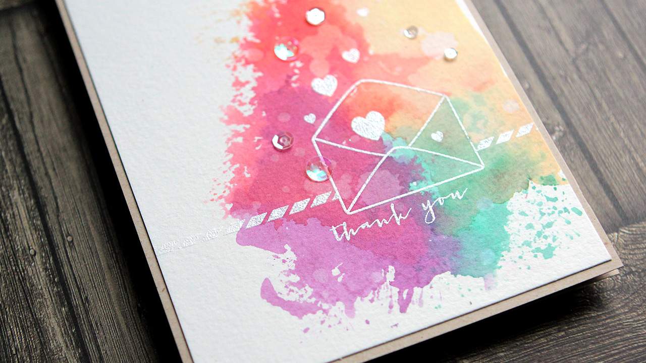 """Colorful Ink """"Smooshing"""" Thank You Card"""