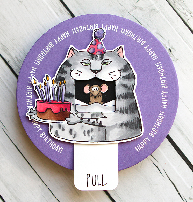 Art Impressions Cat Big Mouth Circle Card