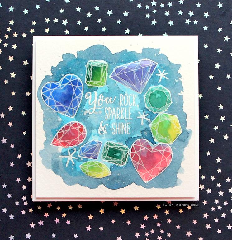 Watercolored Gems Card