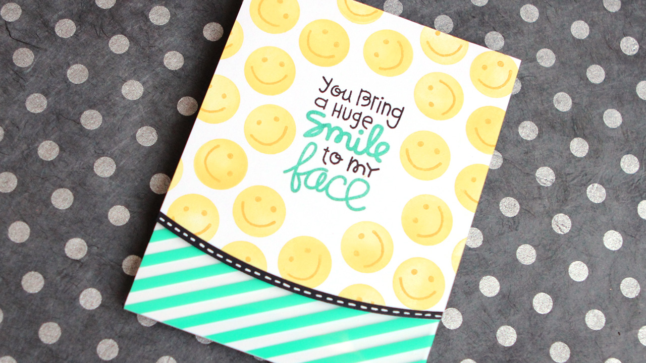 Smiley Face Card (ft. Paper Smooches stamps) + FLASH SALE at OnlineCardClasses.com