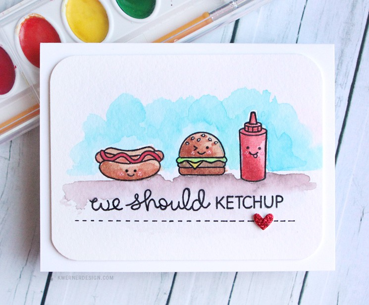 Crayola Watercolor Card (ft. Lawn Fawn Let's BBQ stamps)