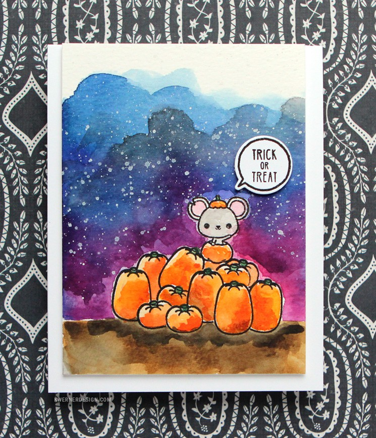 Watercolor Halloween Card (feat. Mama Elephant stamps)