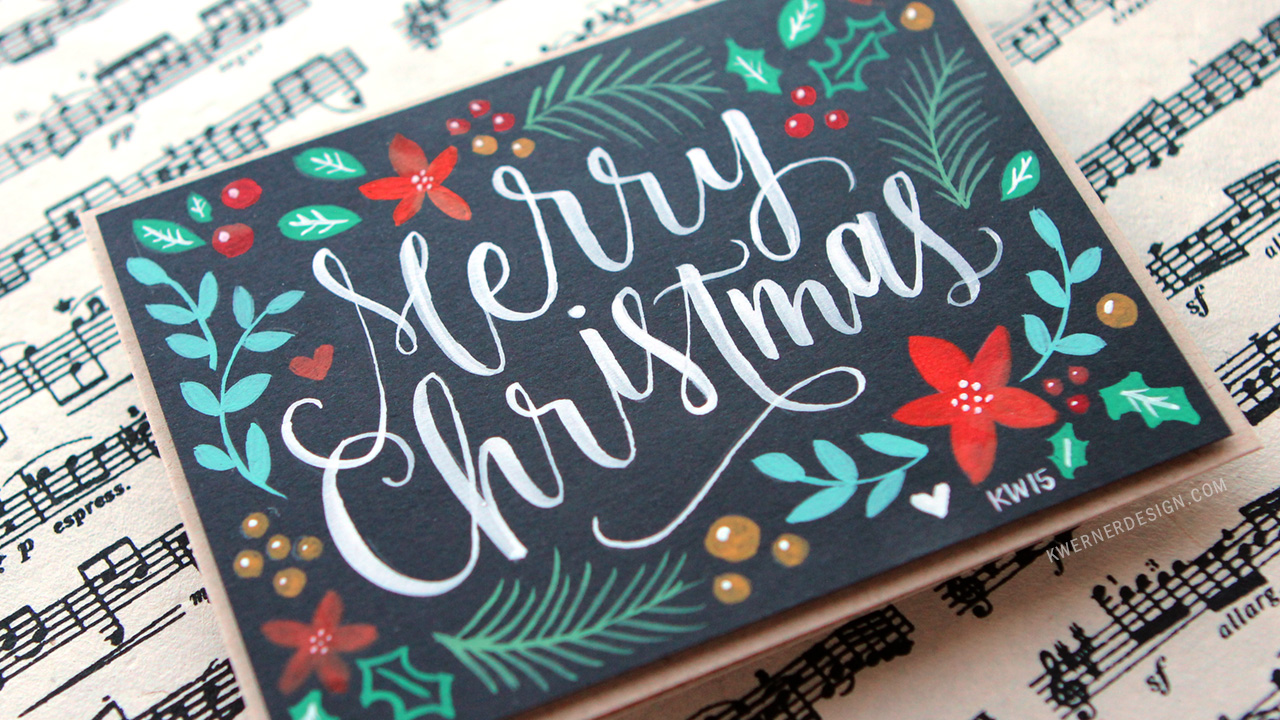 Brush Lettering & Hand Painted Christmas Card + Printables