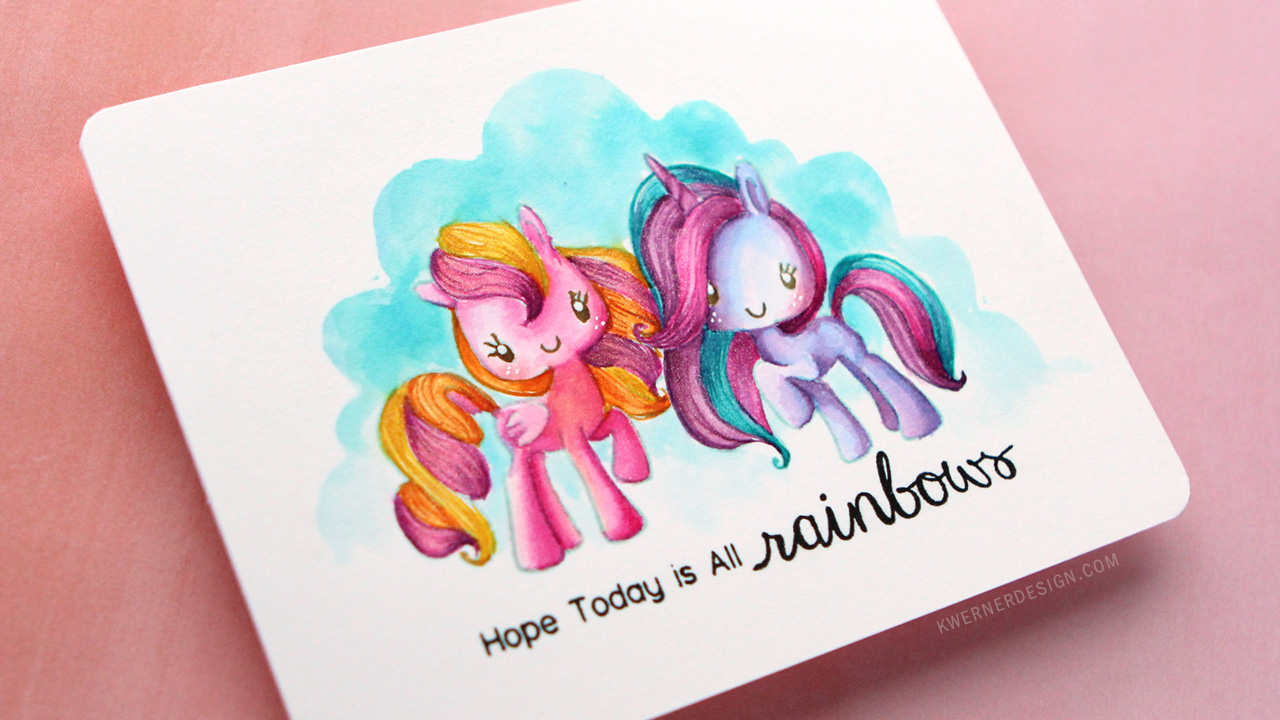 Rainbow Unicorn No-Line Watercoloring (featuring The Greeting Farm)