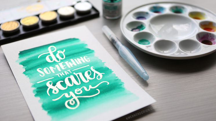 FineTec Gold Lettering over Hydrus Watercolor Background