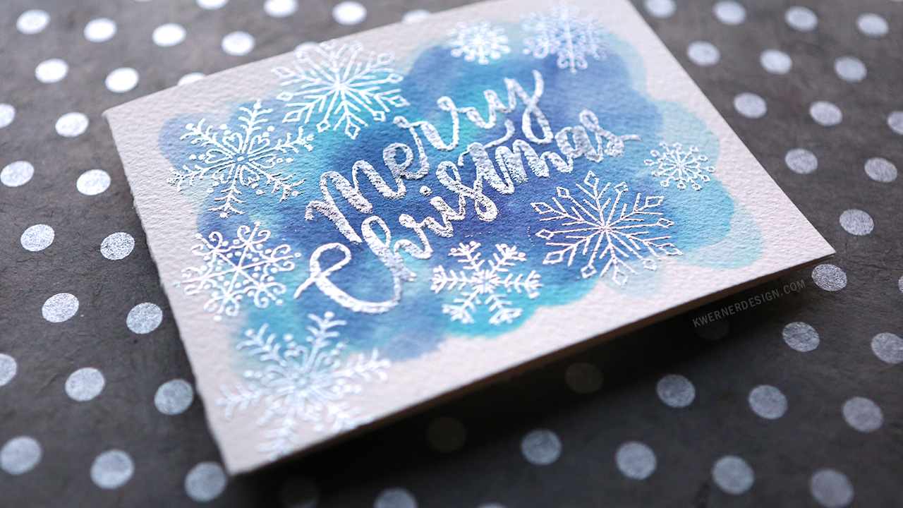 Heat Embossed Lettering Over Watercoloring