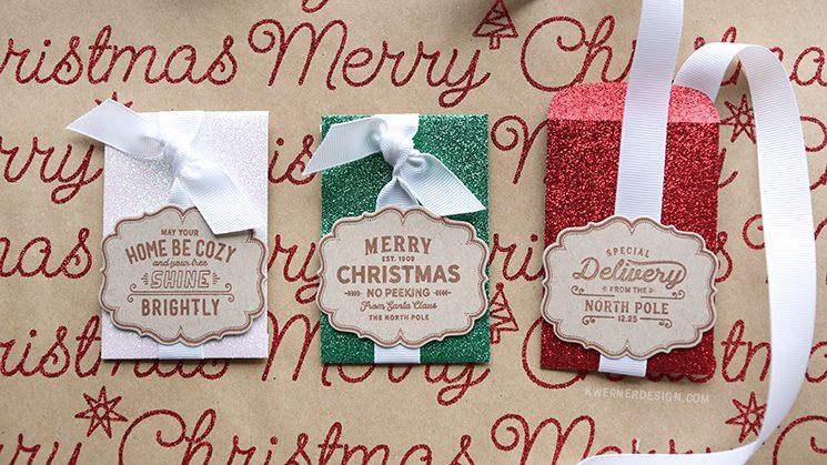 Glitter Gift Card Envelopes - Last Minute Christmas