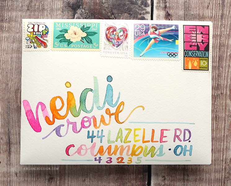 Addressing an envelope using watercolors and brush lettering. By Kristina Werner of KWernerDesign.com.