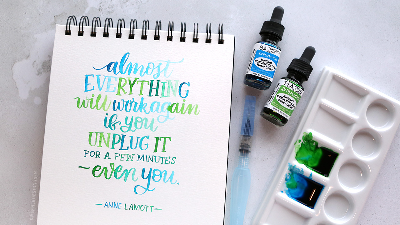 Brush Lettering with Radiant Concentrated Water Colors