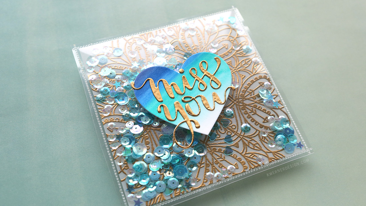 Fused Shaker Card with Embossed Vellum