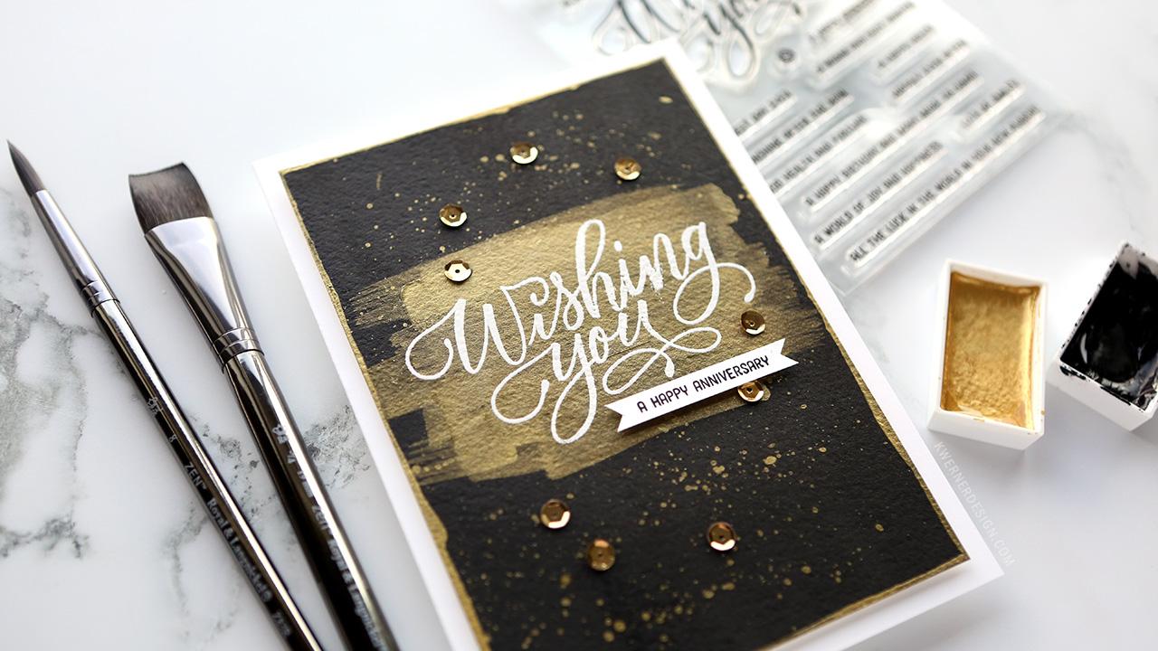 How to Make a Striking Black & Gold Brushstroke Card