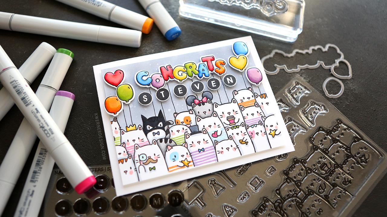 CATS, COPICS, & CONGRATS! Custom graduation card!