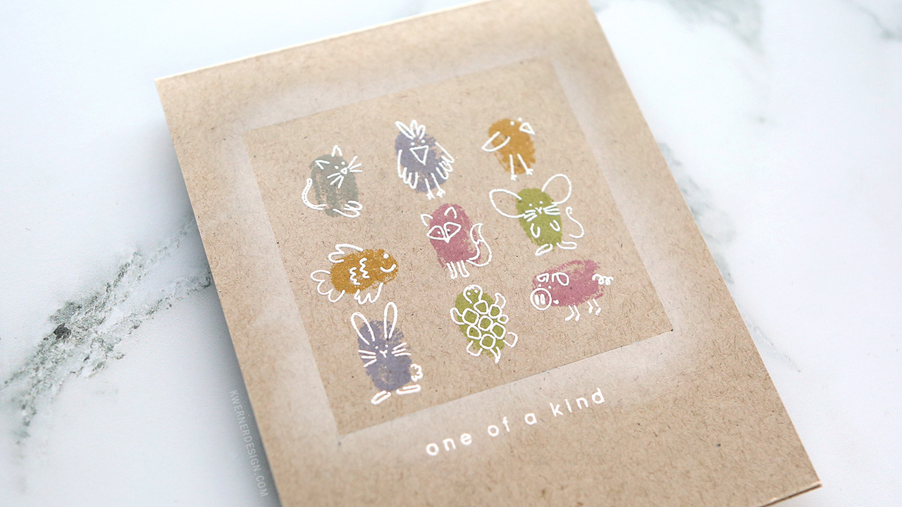 One-Layer Card with Fingerprint Animals