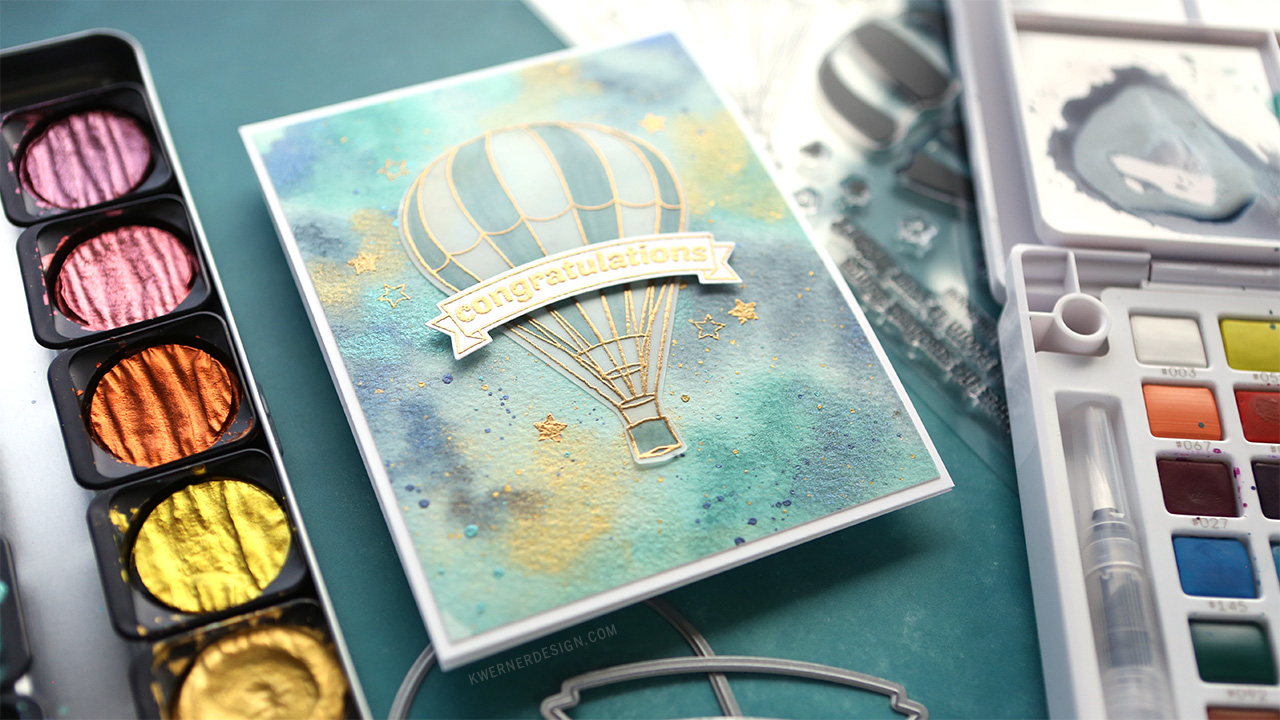 Baby Congrats Card with Embossed Vellum & Ethereal Watercolor