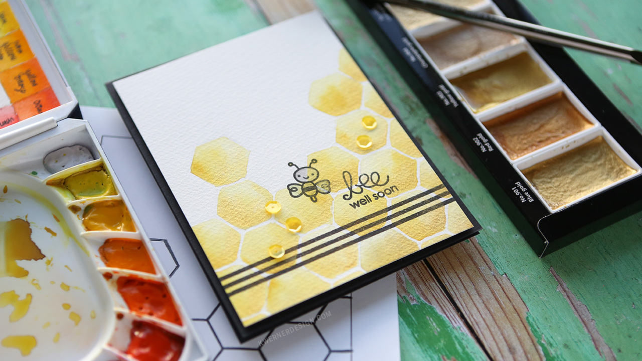 DIY HONEYCOMB PATTERN – How to transfer a printed pattern to watercolor paper