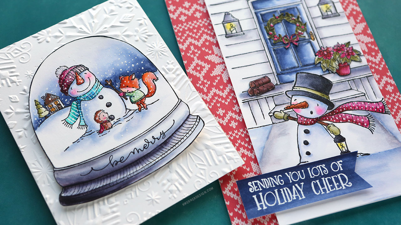 Holiday Card Series 2017 – Day 14 – Watercolor Markers & Unmounted Stamps