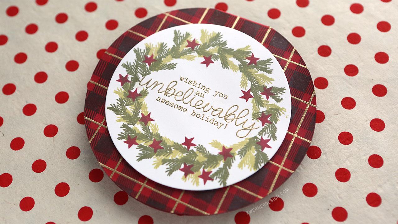 Holiday Card Series 2017 – Day 7 – Circle Card with Custom Wreath
